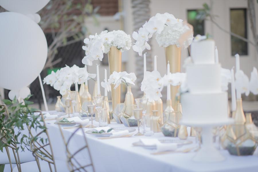 Hochzeitsdekoration Mit Orchideen Gold Weiss Grune Hochzeitsdeko